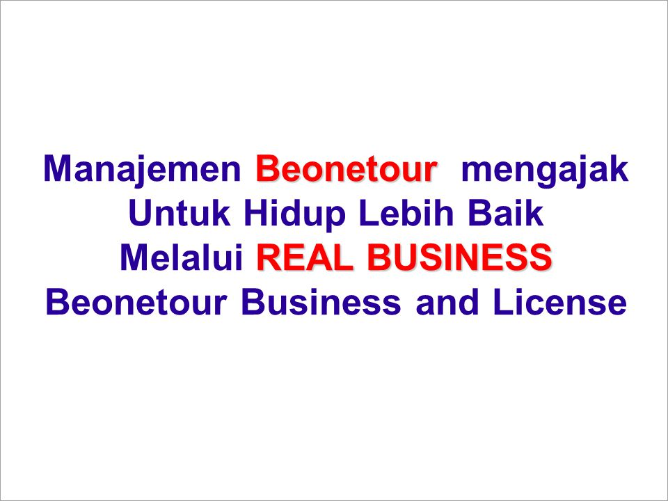 Manajemen Beonetour mengajak Beonetour Business and License