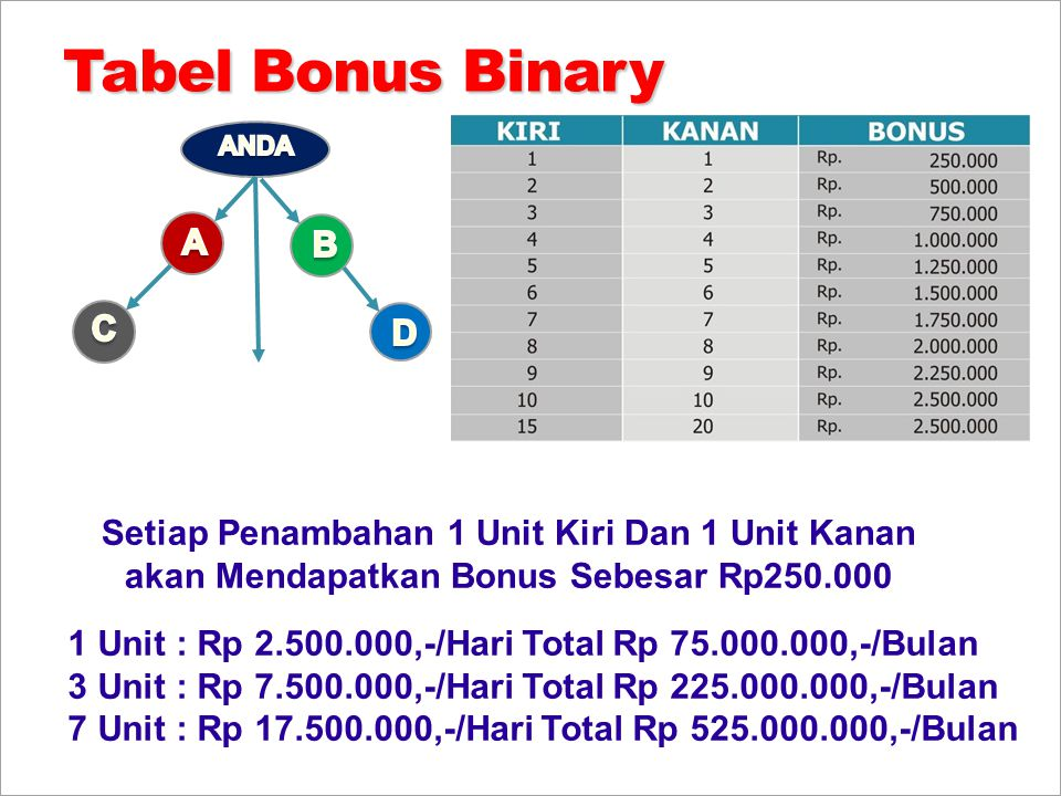Tabel Bonus Binary A B C D