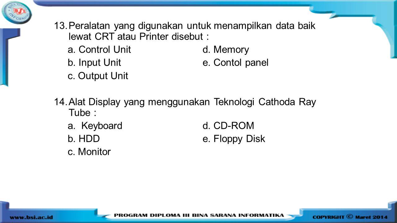 Peralatan yang digunakan untuk menampilkan data baik lewat CRT atau Printer disebut :