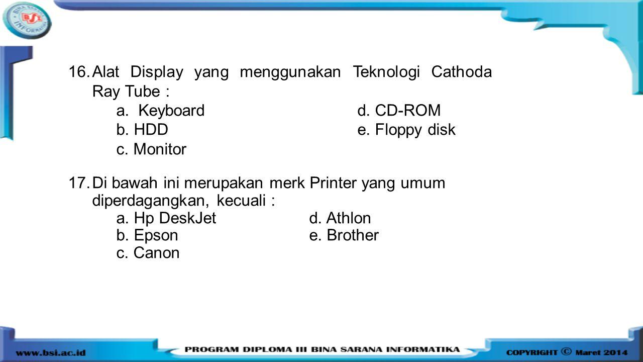 Alat Display yang menggunakan Teknologi Cathoda Ray Tube :