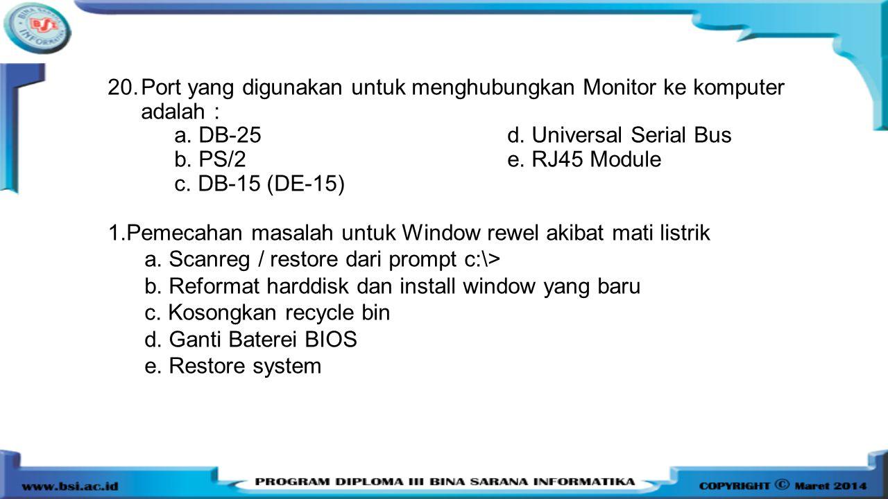Port yang digunakan untuk menghubungkan Monitor ke komputer adalah :