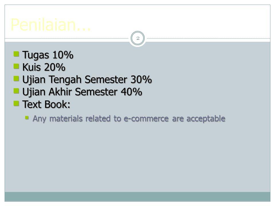 Penilaian... Tugas 10% Kuis 20% Ujian Tengah Semester 30%