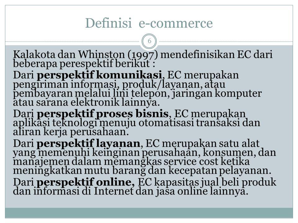 Definisi e-commerce Kalakota dan Whinston (1997) mendefinisikan EC dari beberapa perespektif berikut :