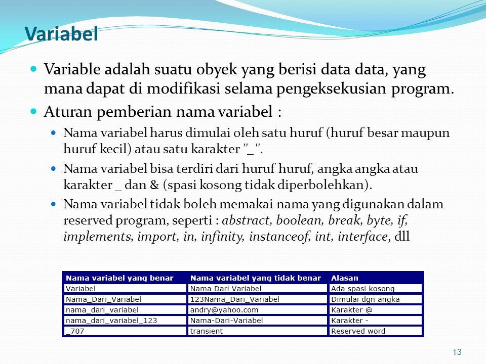 Variabel Variable adalah suatu obyek yang berisi data data, yang mana dapat di modifikasi selama pengeksekusian program.
