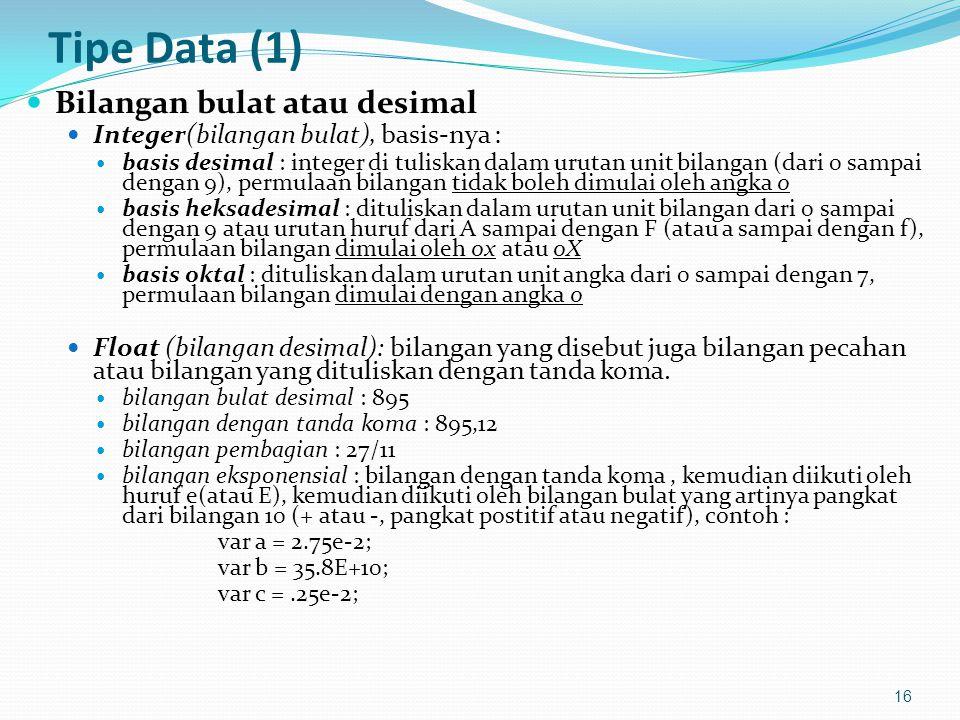 Tipe Data (1) Bilangan bulat atau desimal