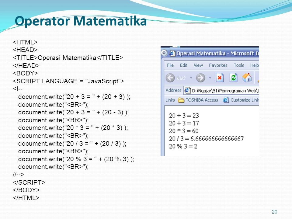 Operator Matematika <HTML> <HEAD>