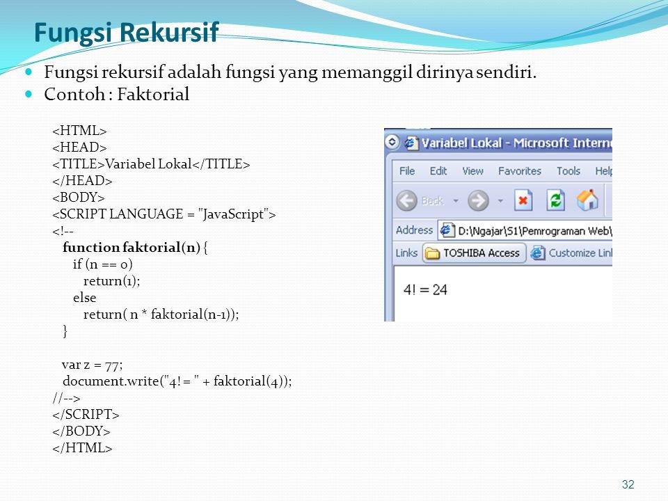 Fungsi Rekursif Fungsi rekursif adalah fungsi yang memanggil dirinya sendiri. Contoh : Faktorial. <HTML>