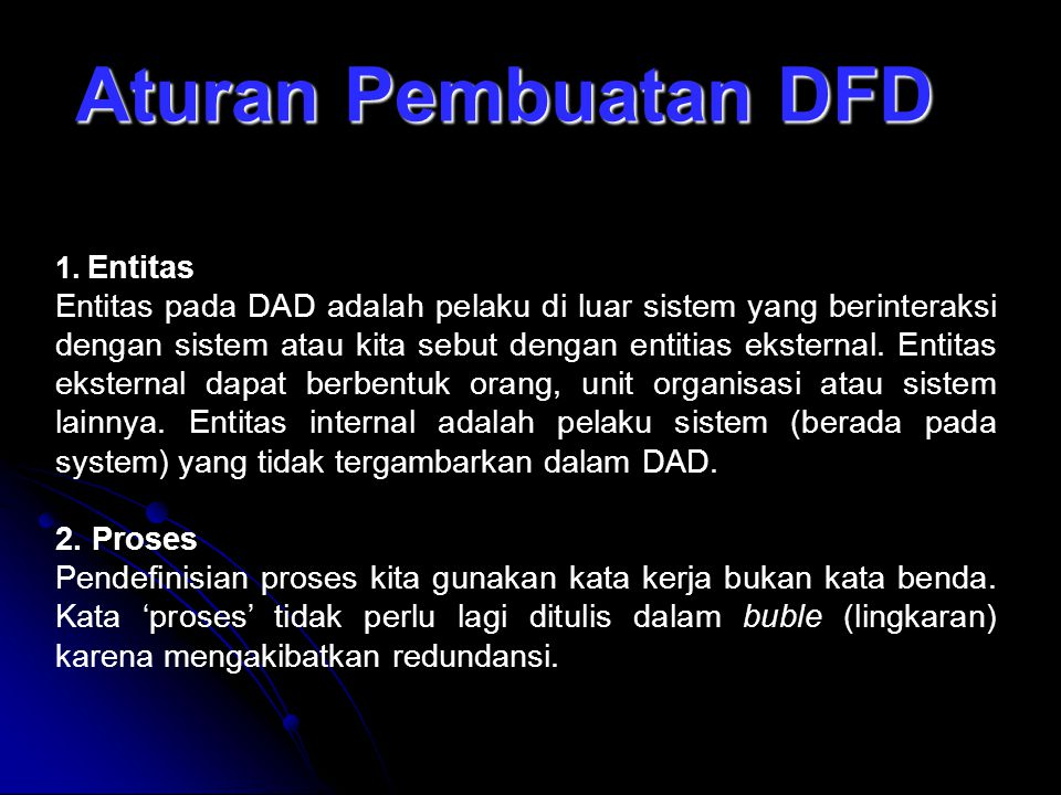 Aturan Pembuatan DFD Entitas.