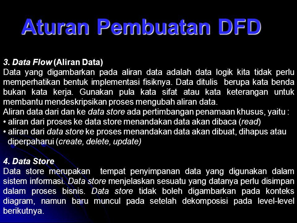 Aturan Pembuatan DFD 3. Data Flow (Aliran Data)