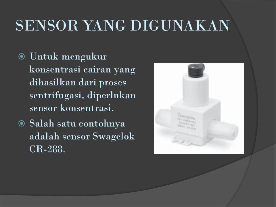 SENSOR YANG DIGUNAKAN Untuk mengukur konsentrasi cairan yang dihasilkan dari proses sentrifugasi, diperlukan sensor konsentrasi.