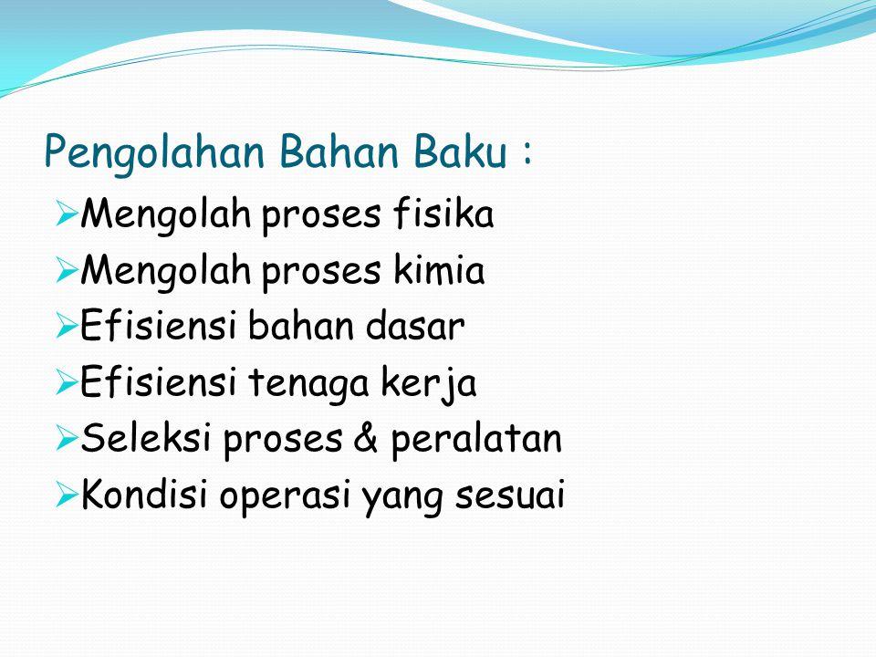 Pengolahan Bahan Baku :
