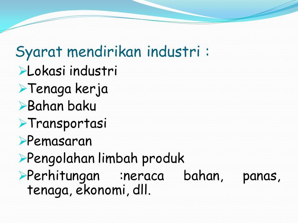 Syarat mendirikan industri :