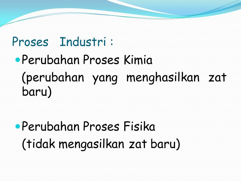 Proses Industri : Perubahan Proses Kimia. (perubahan yang menghasilkan zat baru) Perubahan Proses Fisika.
