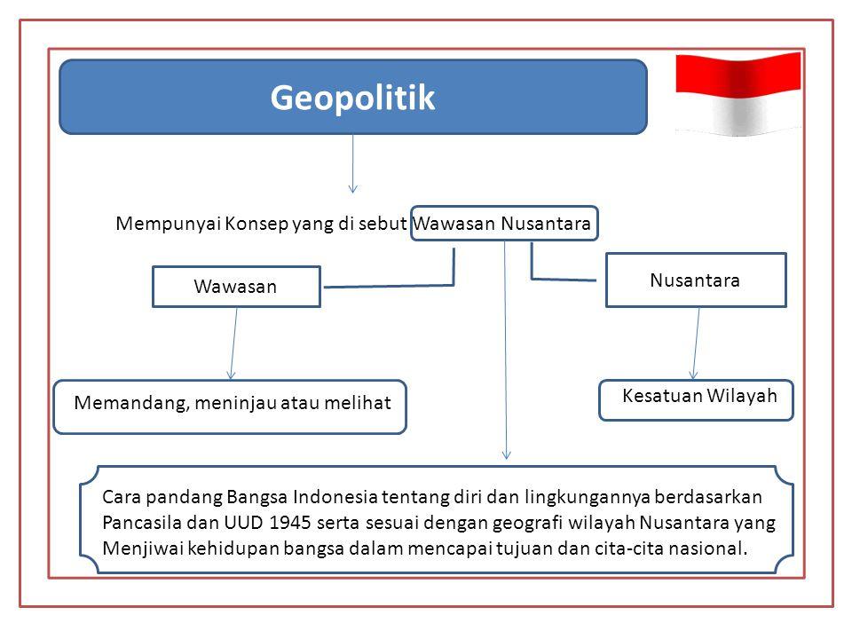 Geopolitik Mempunyai Konsep yang di sebut Wawasan Nusantara Nusantara
