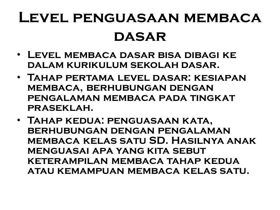 Level penguasaan membaca dasar