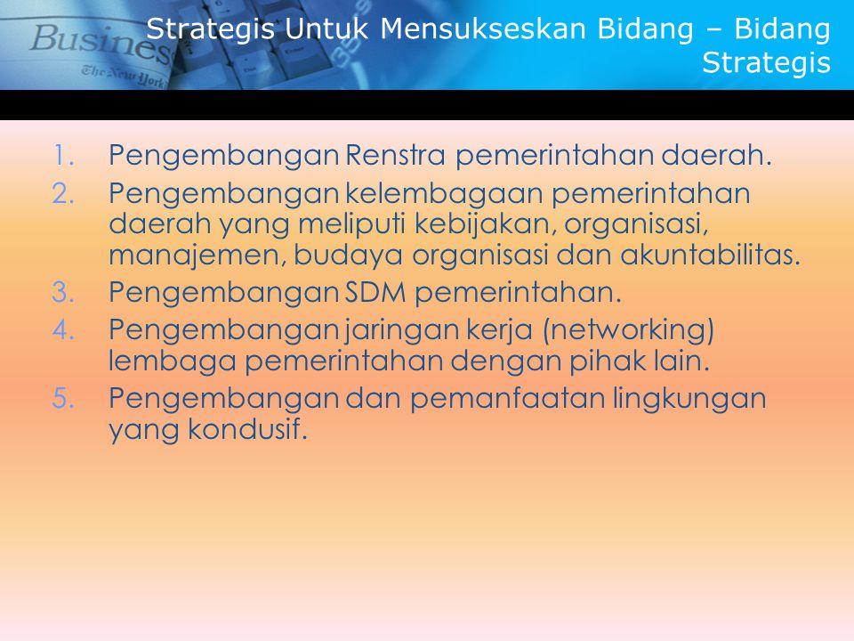 Strategis Untuk Mensukseskan Bidang – Bidang Strategis