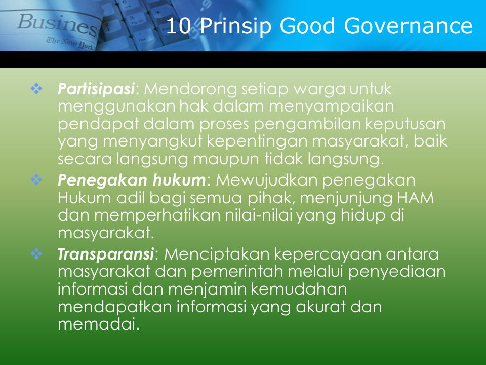 10 Prinsip Good Governance