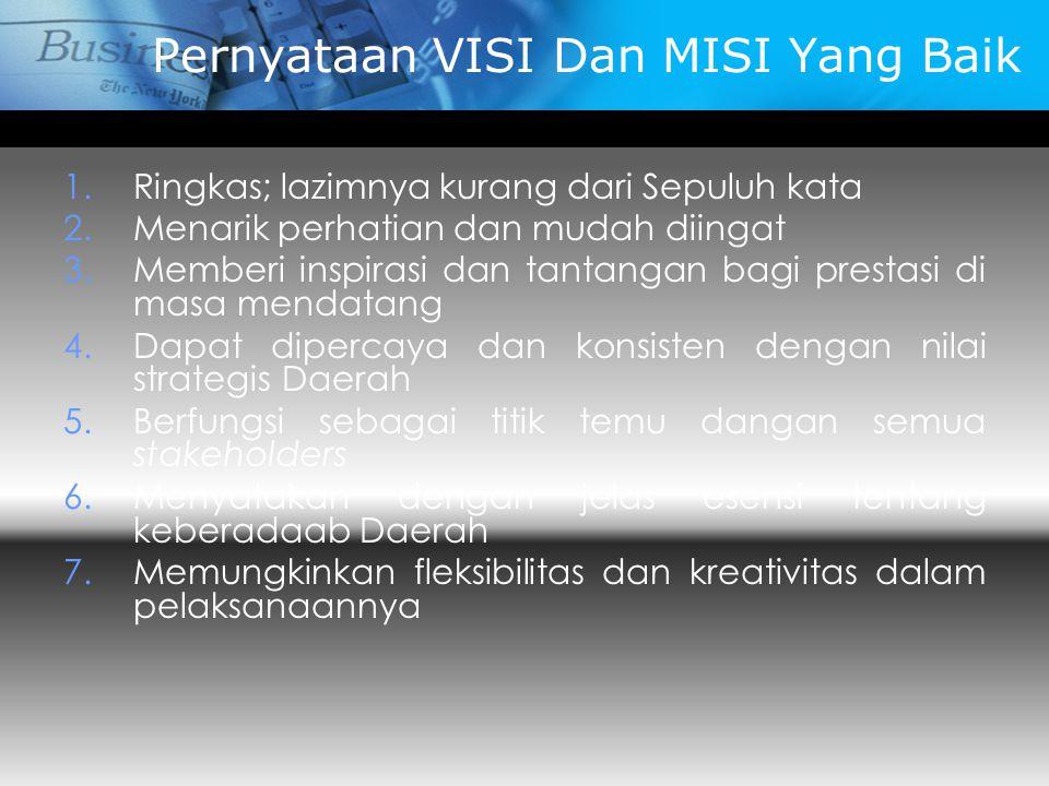 Pernyataan VISI Dan MISI Yang Baik