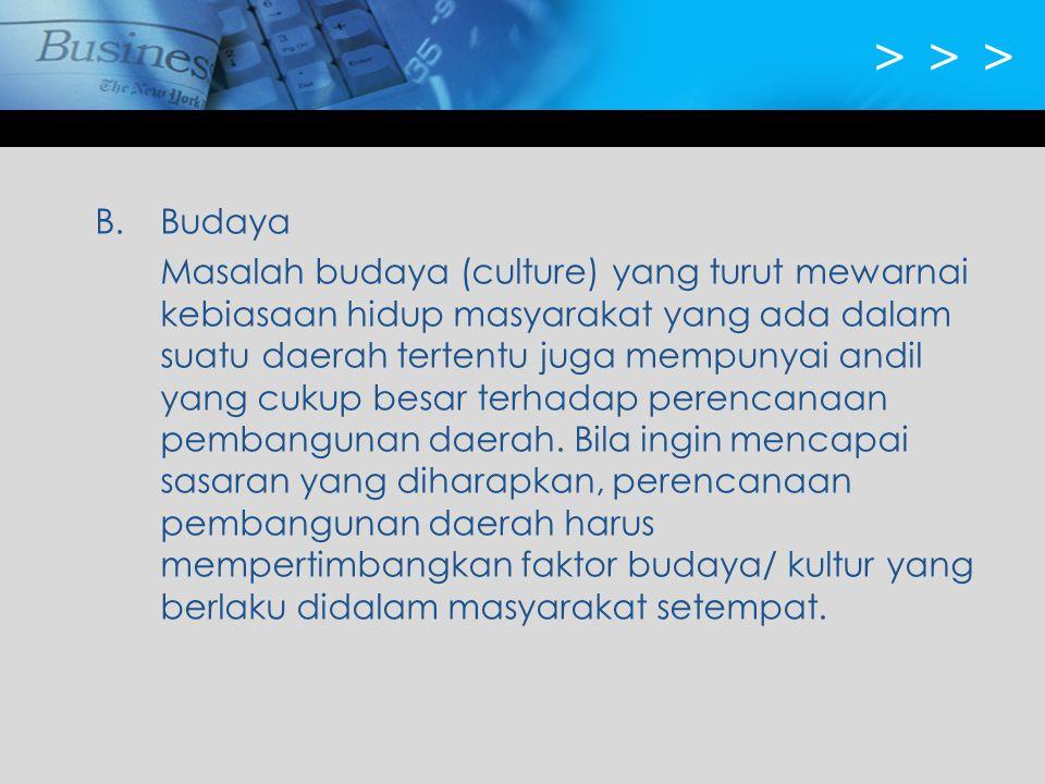 > > > B. Budaya.