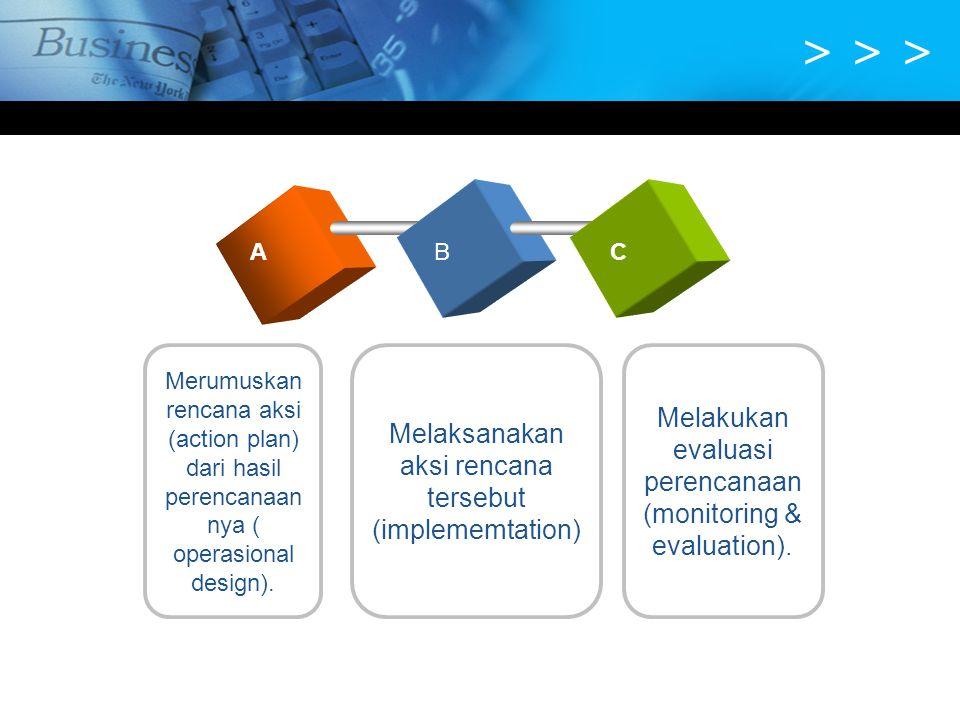 > > > A. B. C. Merumuskan rencana aksi (action plan) dari hasil perencanaannya ( operasional design).