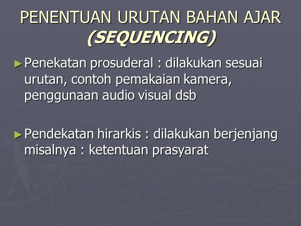 PENENTUAN URUTAN BAHAN AJAR (SEQUENCING)