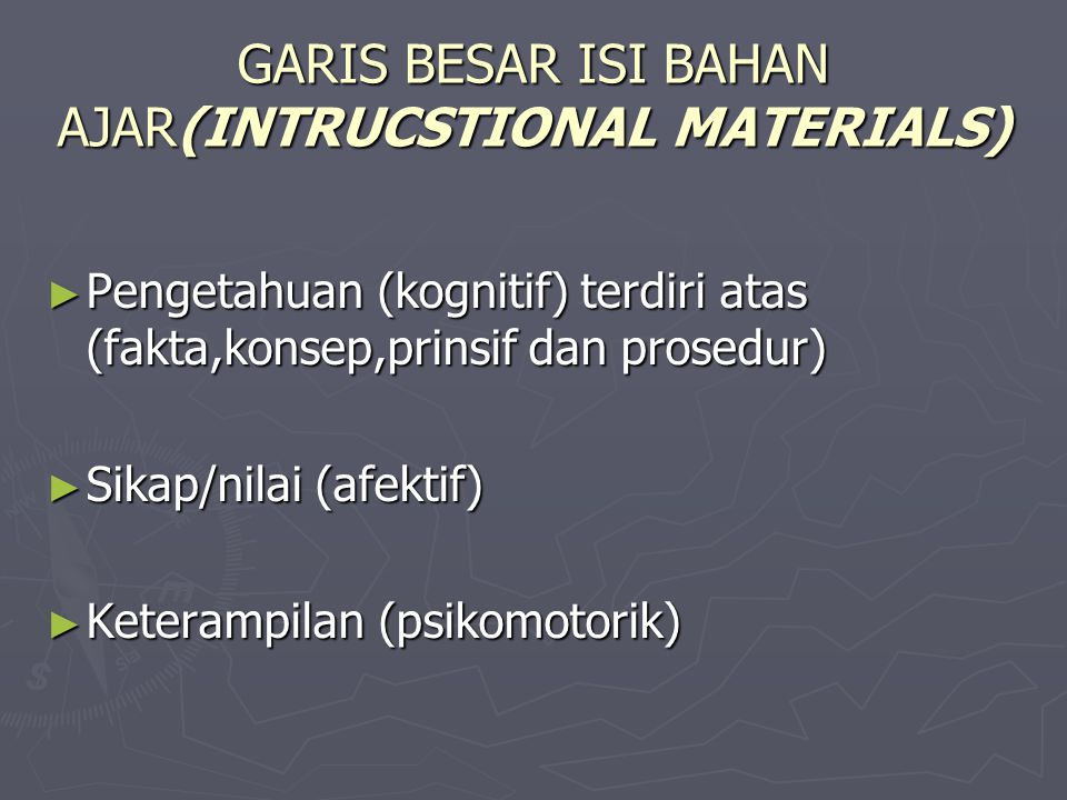 GARIS BESAR ISI BAHAN AJAR(INTRUCSTIONAL MATERIALS)