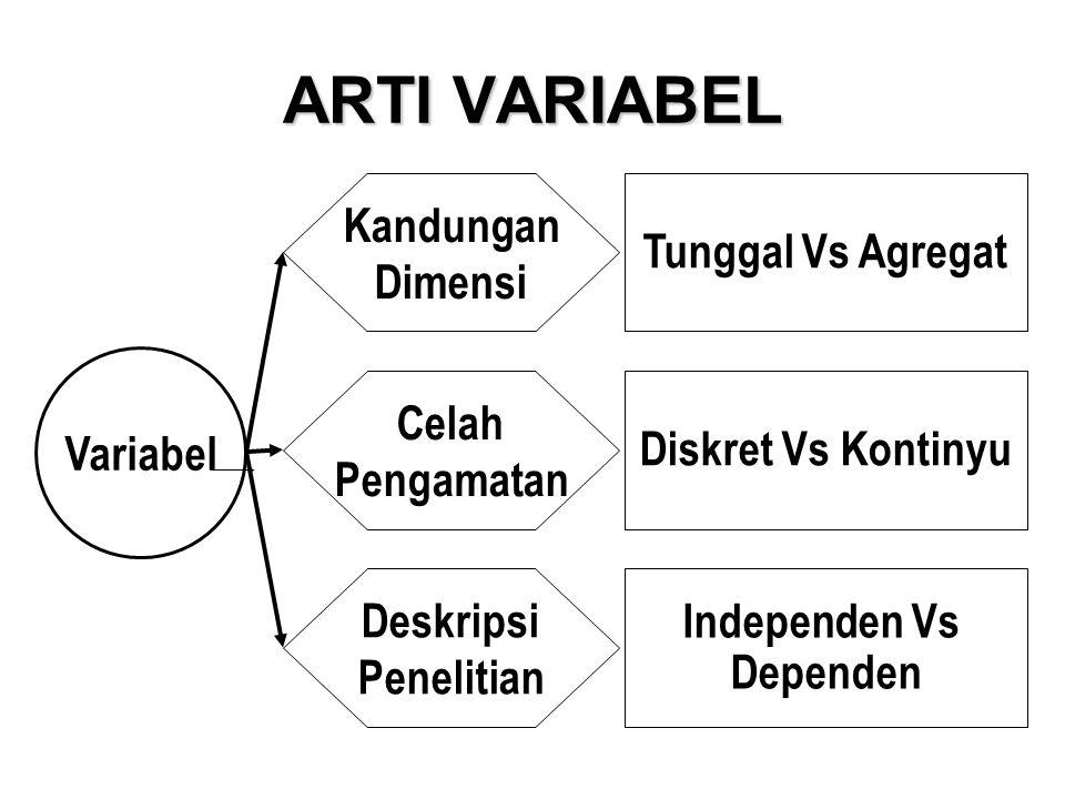 ARTI VARIABEL Variabel Kandungan Dimensi Celah Pengamatan Deskripsi