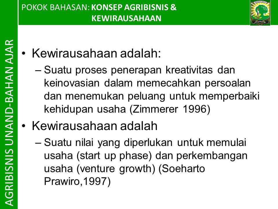 AGRIBISNIS UNAND-BAHAN AJAR Kewirausahaan adalah: