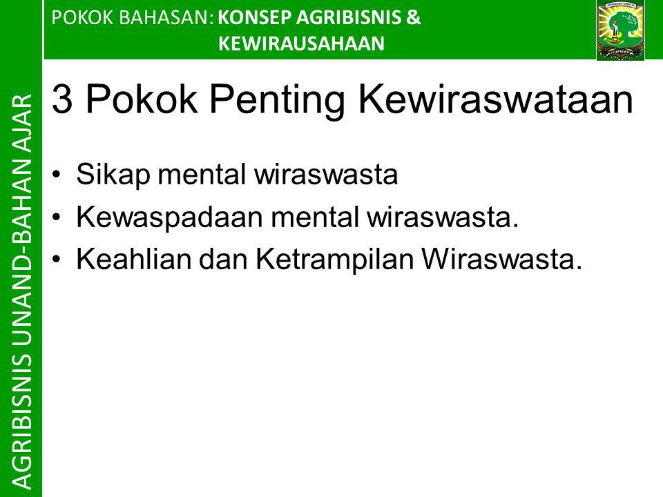 3 Pokok Penting Kewiraswataan