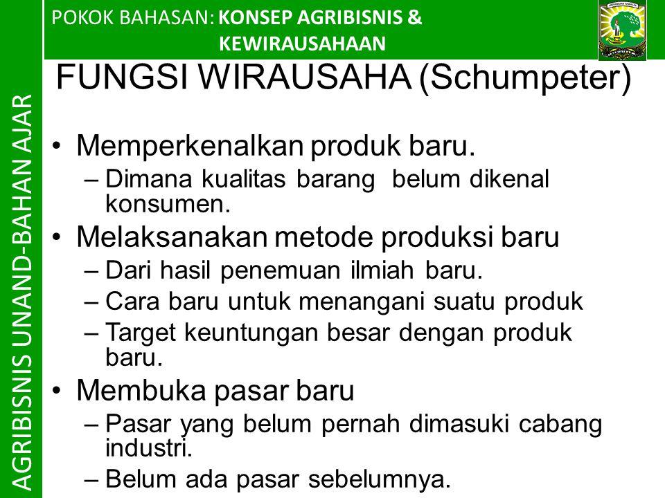 FUNGSI WIRAUSAHA (Schumpeter)