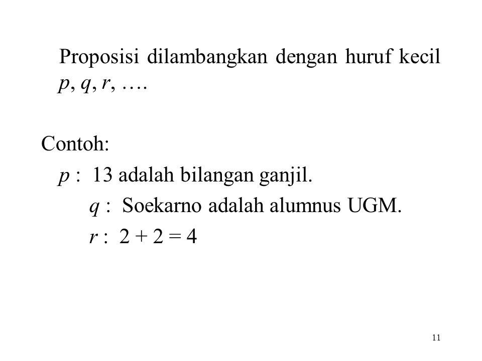 Proposisi dilambangkan dengan huruf kecil p, q, r, ….
