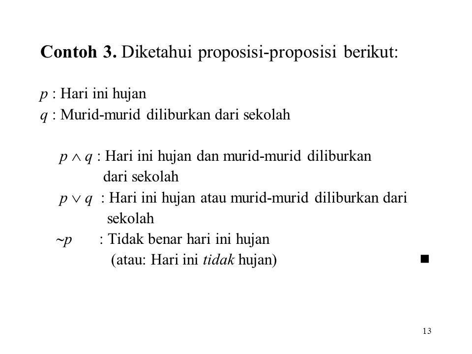 Contoh 3. Diketahui proposisi-proposisi berikut:
