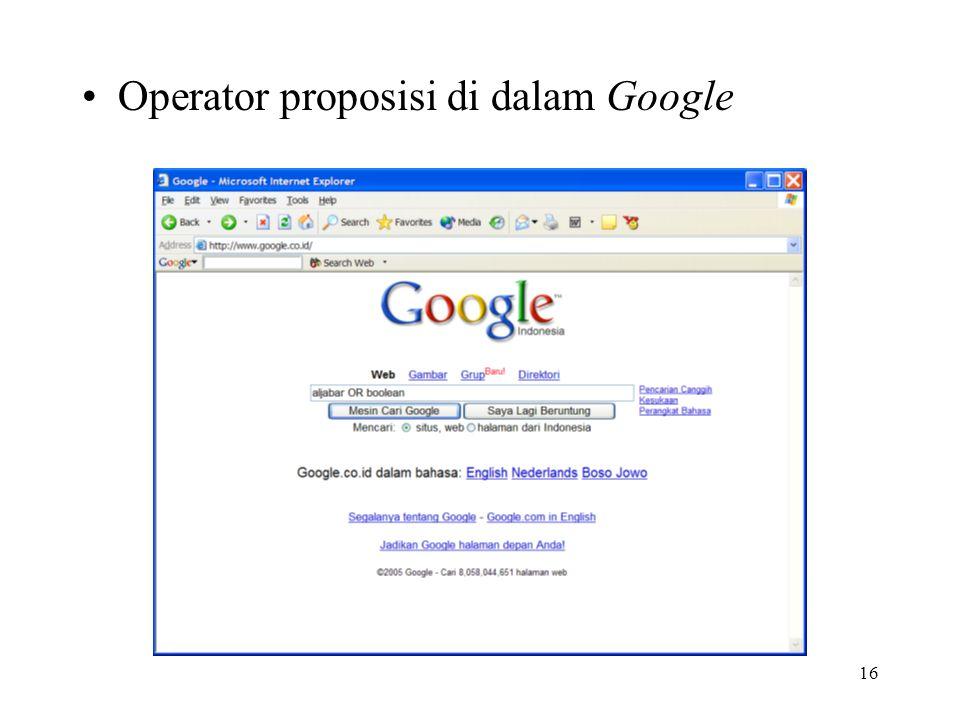 Operator proposisi di dalam Google