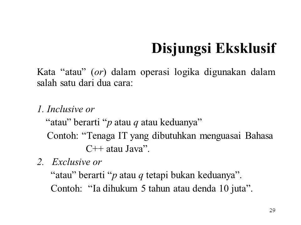 Disjungsi Eksklusif Kata atau (or) dalam operasi logika digunakan dalam salah satu dari dua cara: