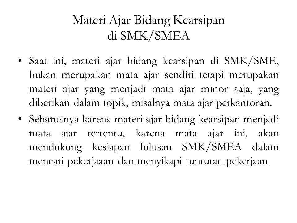 Materi Ajar Bidang Kearsipan di SMK/SMEA