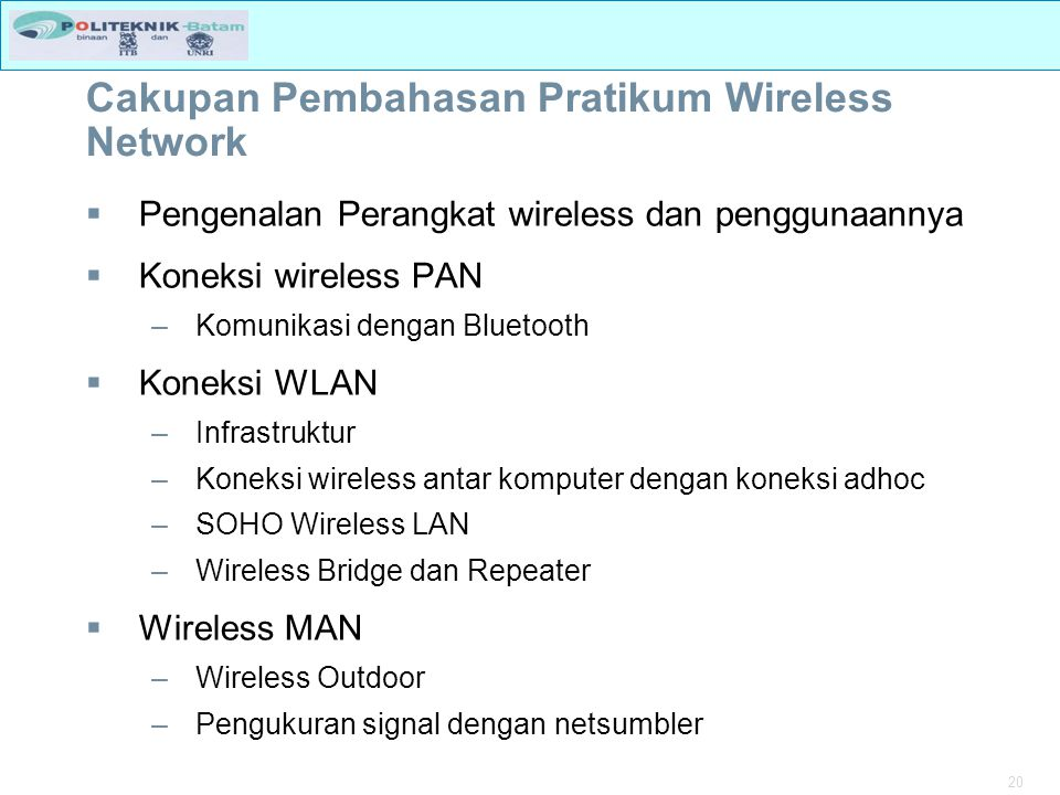 Cakupan Pembahasan Pratikum Wireless Network