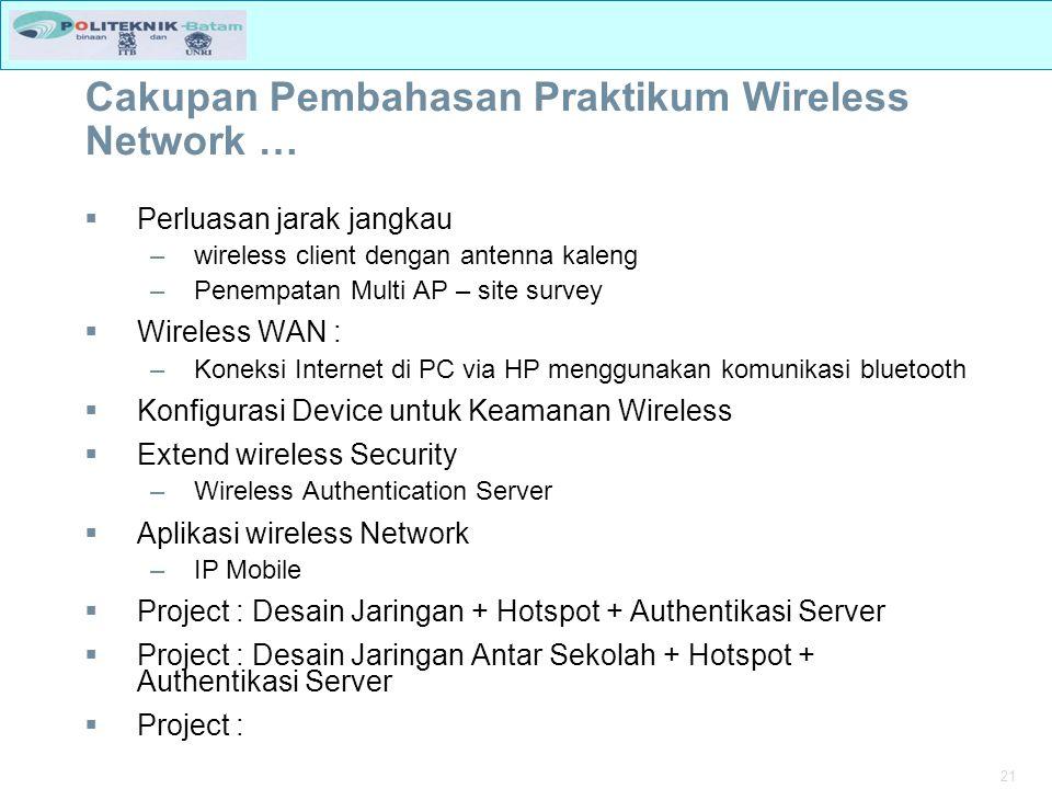 Cakupan Pembahasan Praktikum Wireless Network …
