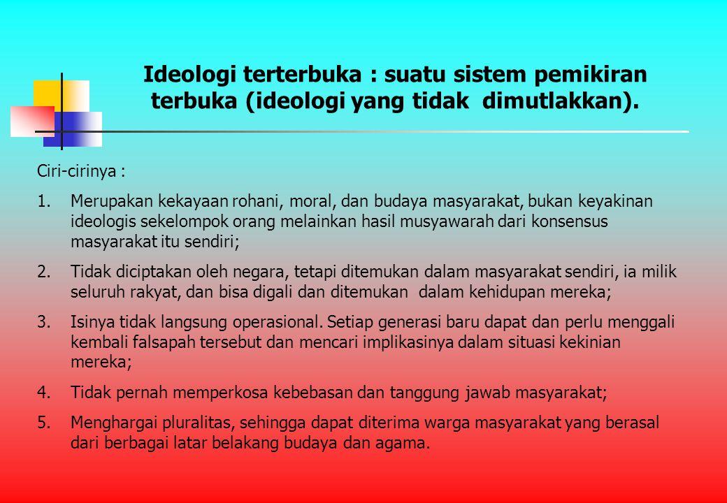 Ideologi terterbuka : suatu sistem pemikiran terbuka (ideologi yang tidak dimutlakkan).