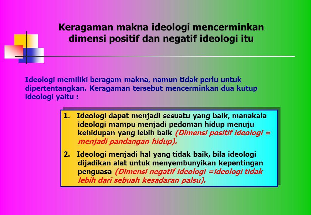 Keragaman makna ideologi mencerminkan dimensi positif dan negatif ideologi itu