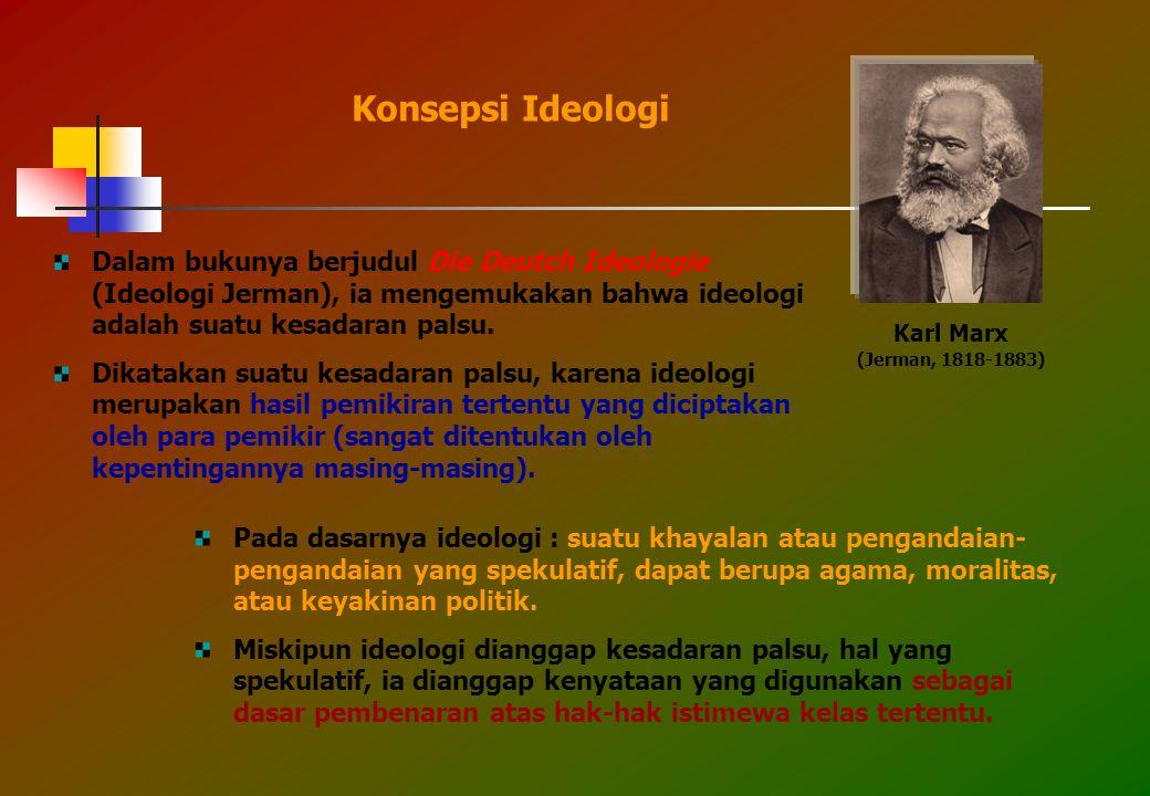 Konsepsi Ideologi Dalam bukunya berjudul Die Deutch Ideologie (Ideologi Jerman), ia mengemukakan bahwa ideologi adalah suatu kesadaran palsu.