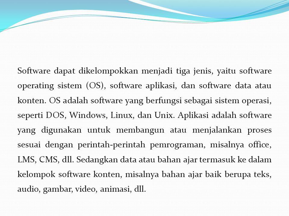 Software dapat dikelompokkan menjadi tiga jenis, yaitu software operating sistem (OS), software aplikasi, dan software data atau konten.