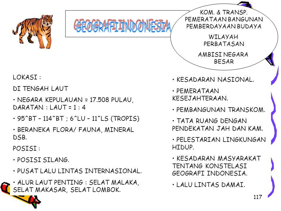 GEOGRAFI INDONESIA LOKASI : • KESADARAN NASIONAL. DI TENGAH LAUT