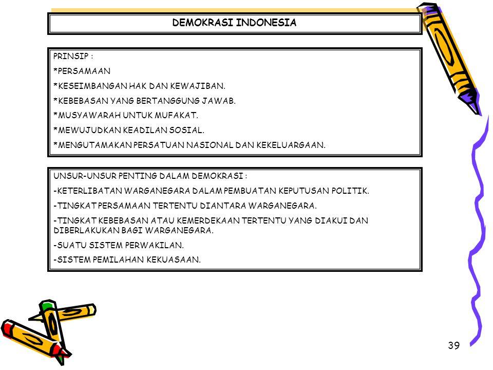 DEMOKRASI INDONESIA PRINSIP : *PERSAMAAN