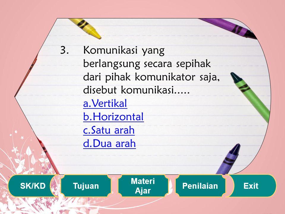 Komunikasi yang berlangsung secara sepihak dari pihak komunikator saja, disebut komunikasi..... a.Vertikal b.Horizontal c.Satu arah d.Dua arah