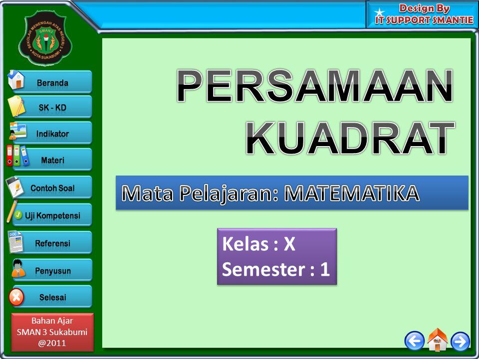PERSAMAAN KUADRAT Mata Pelajaran: MATEMATIKA Kelas : X Semester : 1