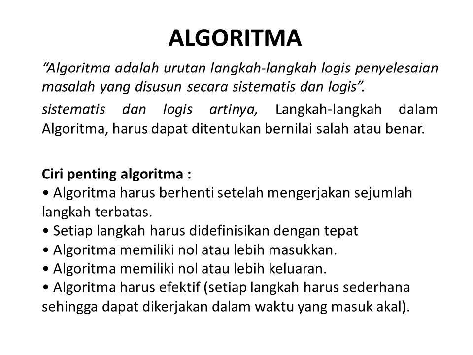 ALGORITMA Algoritma adalah urutan langkah-langkah logis penyelesaian masalah yang disusun secara sistematis dan logis .