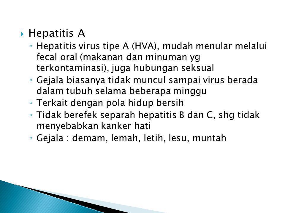 Hepatitis A Hepatitis virus tipe A (HVA), mudah menular melalui fecal oral (makanan dan minuman yg terkontaminasi), juga hubungan seksual.