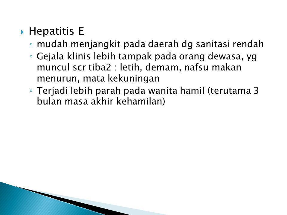 Hepatitis E mudah menjangkit pada daerah dg sanitasi rendah