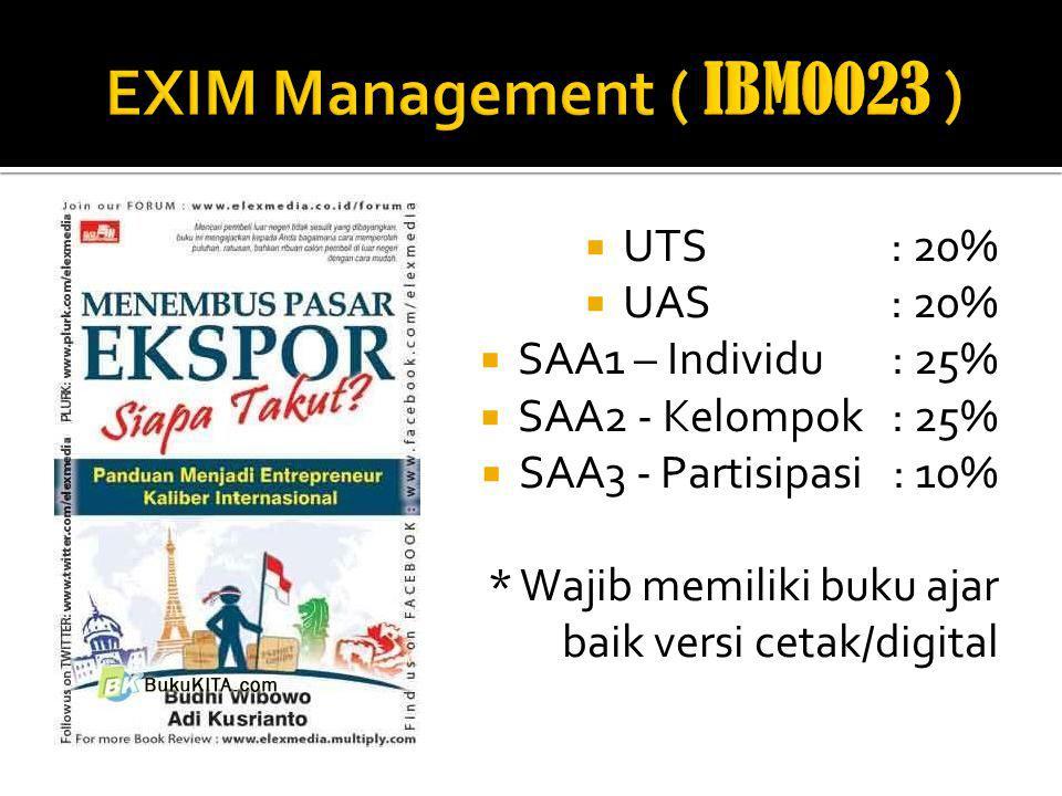 EXIM Management ( IBM0023 ) UTS : 20% UAS : 20% SAA1 – Individu : 25%