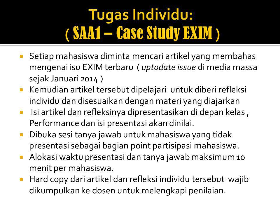 Tugas Individu: ( SAA1 – Case Study EXIM )